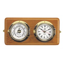 3'' clock & barometer set on hard wood board