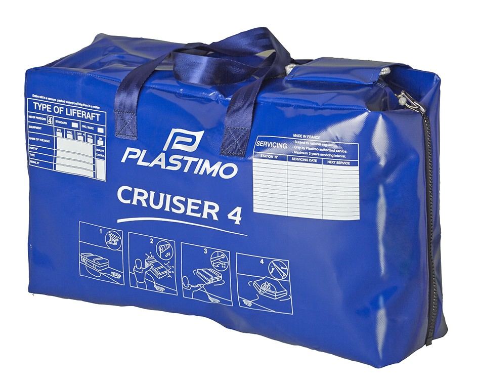 Cruiser liferaft in valise. Also available in rigid canister