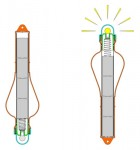 ONWhen the light is thrown into the water, it floats in vertical position immediately, thanks to its specific shape.The batteries slide down in the tube and, with their weight, create the contact with the wire connected to the bulb.